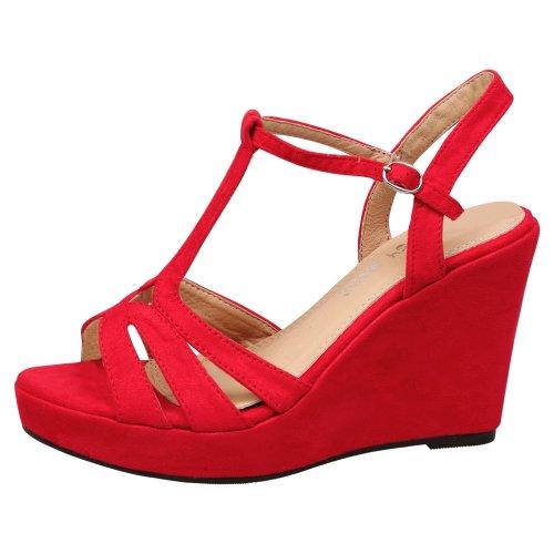 Beverly Womens High Wedge Heel Peep Toe T Bar Platform Shoes