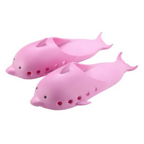 Cute Dolphin Slippers Summer Semi-enclosed Home Non-slip Bath Slippers, Rose Red