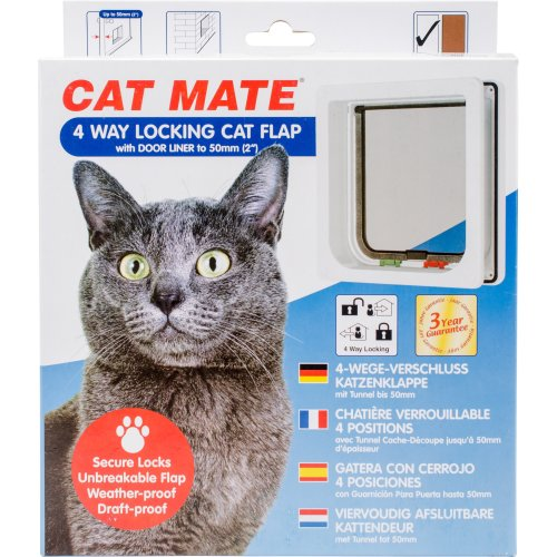 Cat Mate 4 Way Locking Cat Flap W/Door Liner-White