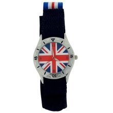 England Union Jack Quartz Luminous Hands Velcro Strap Boys Watch