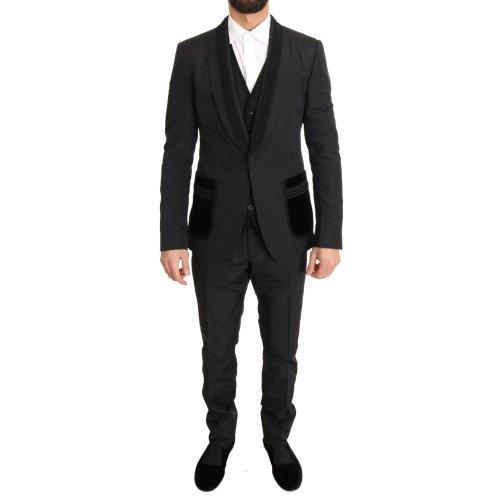 Dolce & Gabbana Black Silk Torrero Slim Fit 3 Piece Suit