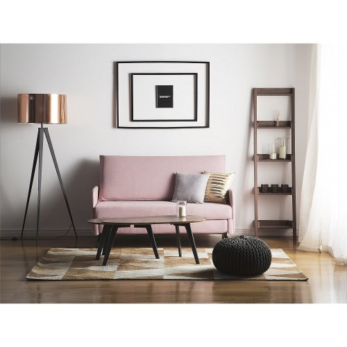 2 Seater Fabric Sofa Bed Pink BELFAST