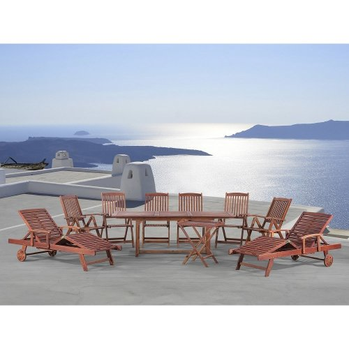 Garden Solid Wood Set - Table - 2 Loungers - 6 Chairs - Tea Table - TOSCANA