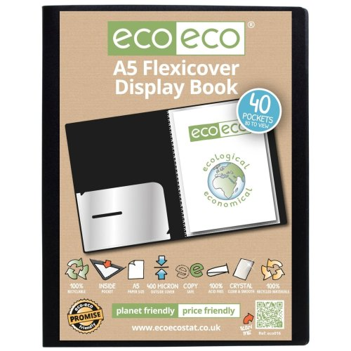 1 x A5 Flexicover 40pkt (80 Views) Presentation Display Book - Black