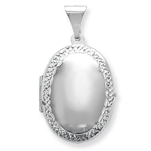 Childrens Sterling Silver Small Engraved Edge Oval Locket On A Curb Necklace