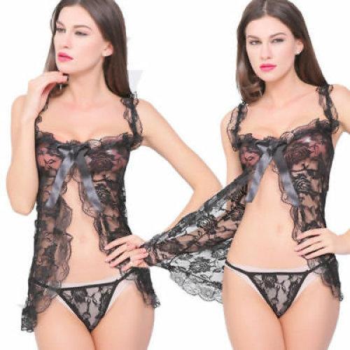 Women Sexy Mesh Elastic Lingerie Black Ruched Good Quality Sleepwear