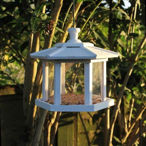 White Wooden Hexagonal Conservatory Hanging Bird Nesting Nest Box House