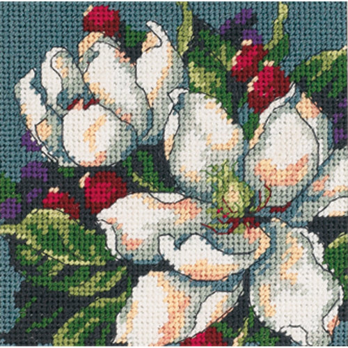 "Dimensions Mini Needlepoint Kit 5""X5""-Magnolia Stitched In Floss"