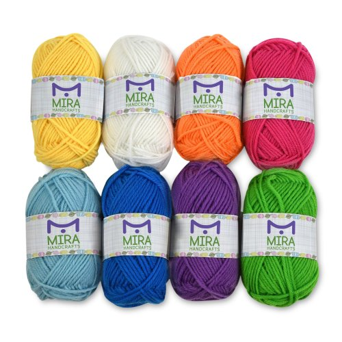 Premium Yarn Pack - 8 Acrylic Rainbow Color Yarn Skeins - Excellent for Small and Kids Yarn Projects, Crafts, Knitting, Crochet and Much More - 10...