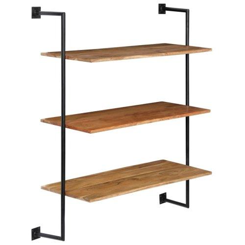 vidaXL Solid Acacia Wood Wall Shelf Home 3 Shelves Storage Plank Display Unit