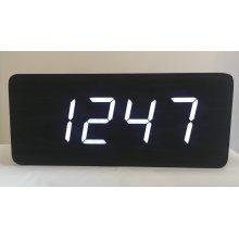 (Black with White LED) Excelsior Wooden Bullion Bar Digital Clock