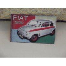 Vintage Fiat 500 mini printed magnetic magnet frame RARE