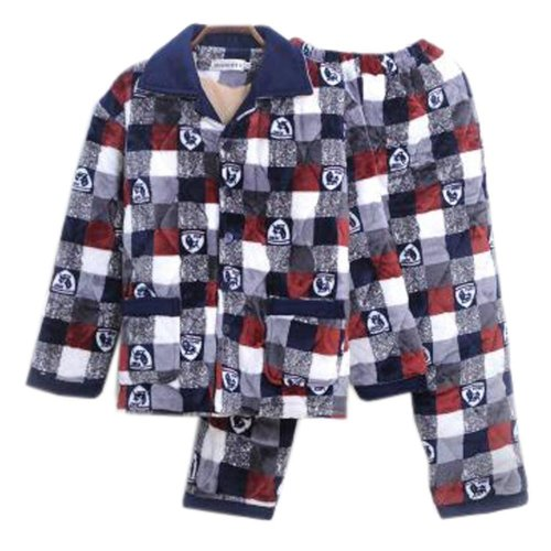 Men Pajamas Warm Thick Cotton Winter Suit Modern Set Sleepwear/Nightwear Clothes for Home, C11