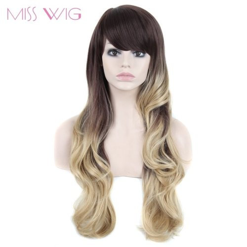 Ombre Blond Colors Long Wavy Hairstyle Wigs for  Synthetic Wigs