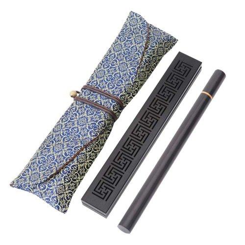 Wooden Incense Burner Box Ebony Wood Incense Stick Burner with Incense Tube, 18