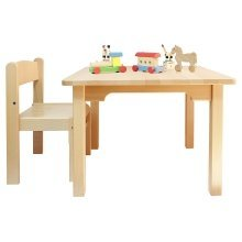 Childrens Furniture Beech Wood 1 Table & 1 Chair no Armrest Natural