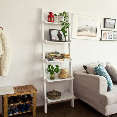 SoBuy® FRG17-W, 5 Tiers Ladder Shelf Wall Shelf Bookcase Storage Display Shelving