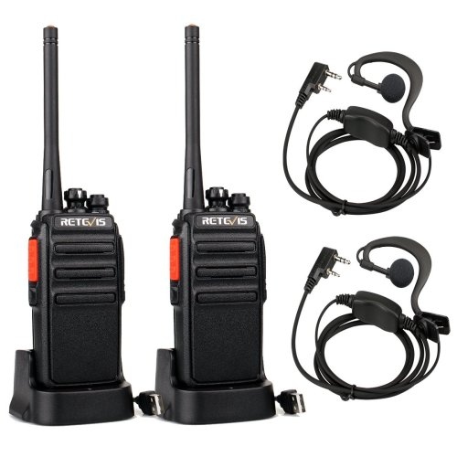 Retevis RT24 Walkie Talkies PMR446 License-free Two Way Radio 16 Channels Scan TOT with USB Charger and Earpieces (Black, 1 Pair)