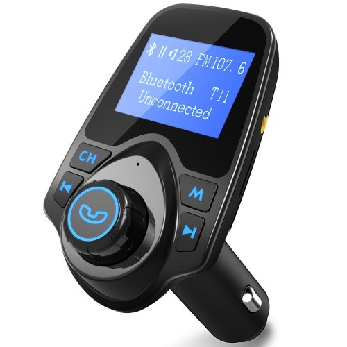 FM Transmitter, [Update Version] PICTEK LED Bluetooth MP3 Player FM Transmitter Hands-free Car Kit Charger For Apple iPhone SE 6s 6s Plus, Samsung...