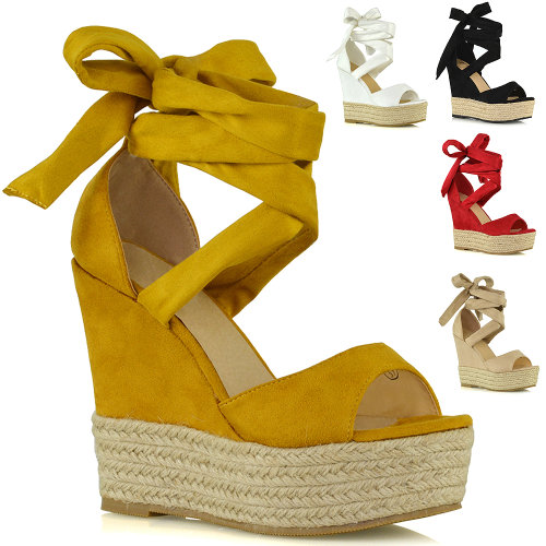 Womens Lace Up Wedge Sandals Ladies High Heel Platform Strappy Peeptoe Shoes Size