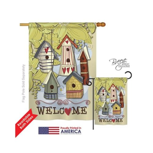 Breeze Decor 00044 Welcome Birdhouse Village 2-Sided Vertical Impression House Flag - 28 x 40 in.