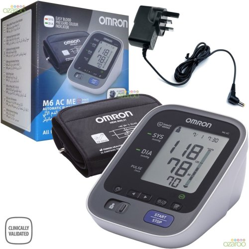 Omron M6 AC ME Automatic Upper Arm Blood Pressure Monitor with UK Adaptor Plug
