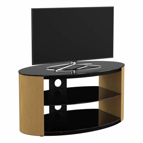 "King Oak TV Stand 80cm, Black Glass Shelves, TVs up to 42"""
