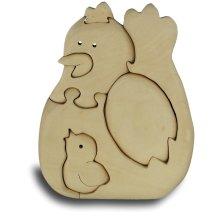 Chicken Handcrafted Wooden Puzzle - 6 Piece Playset Toy Model Quay -  chicken handcrafted wooden puzzle 6 piece playset toy model quay