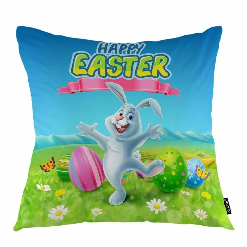 Melyaxu Easter Throw Pillow Cover Dancing Rabbit Colorful Eggs Butterfly Decorative Pillow Case Home Decor for Sofa Bedroom Car 18x18 Inch Pillowcase