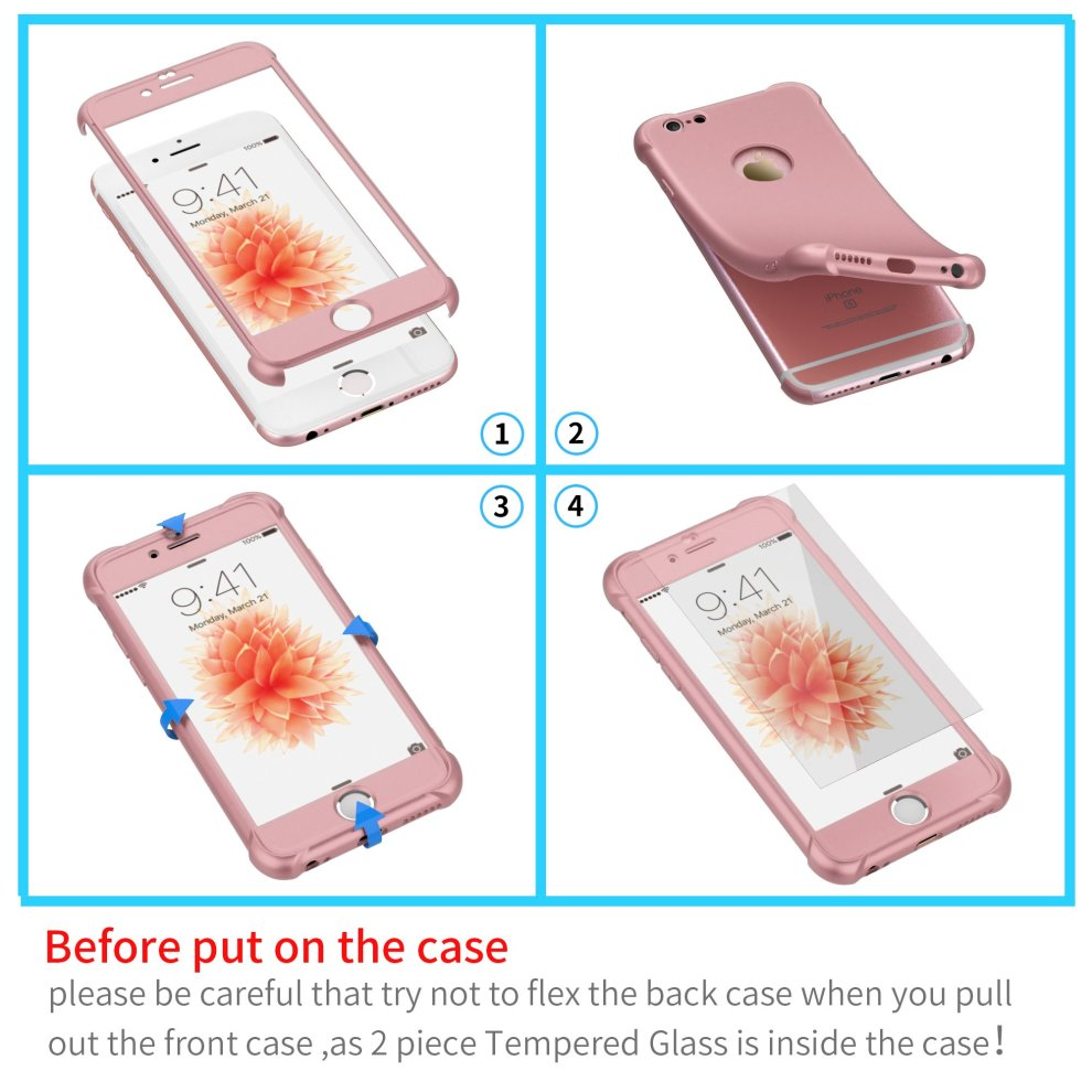 timeless design 6fa0c f9016 iPhone 6 Case, iPhone 6s Case with [2 Pack Tempered Glass Screen Protector]  ORETech 360° Full Body Shockproof iPhone 6/6s Cover Ultra-Thin [Air...