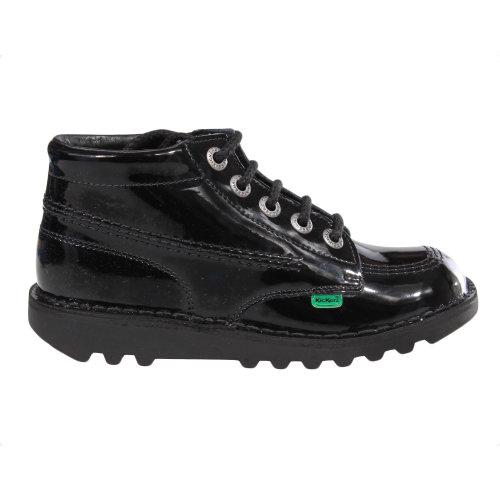 Kickers Kick Hi Patent Junior Girls School Shoe Boot Black