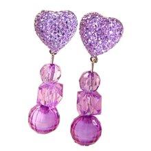 2 Pairs Girls Shining Clip-on Earrings Princess Pendant Earclips Heart Purple
