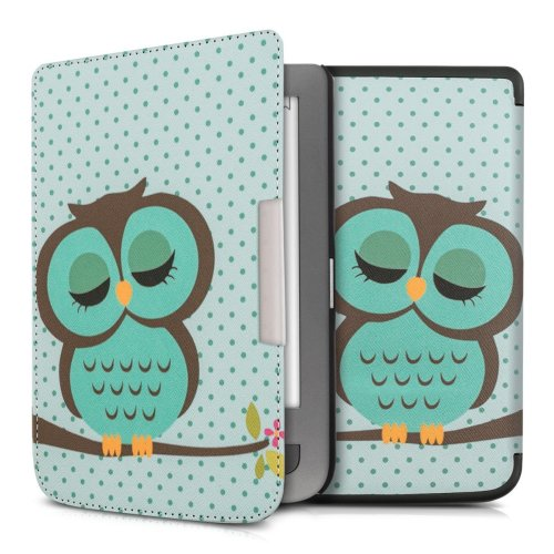 kwmobile Case for Pocketbook Touch Lux 3/Basic Lux/Basic Touch 2 - Book Style PU Leather Protective e-Reader Cover Folio Case - Turquoise Brown Mint