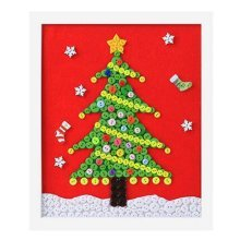 Christmas Tree DIY Button Painting Mosaic Craft for Kids