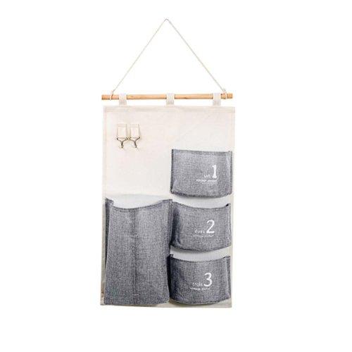 Linen Cotton Fabric Wall Door Cloth Hanging Storage Bag Home Organizer