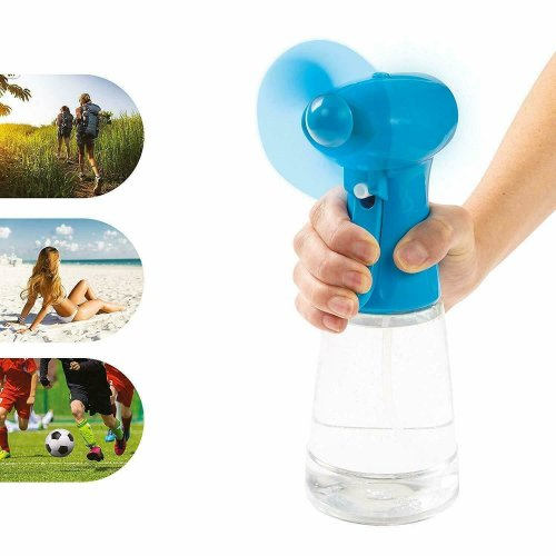 Portable Handheld Water  Mist Fan Spray Cooler Battery-Operated  Blue