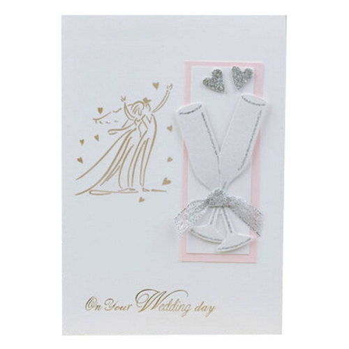 Set of 10 3D Cards Wedding Accessories Thank You Note Cards,Wine Glass