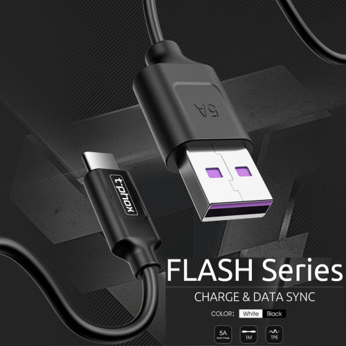 FLASH SUPER CHARGE 5A TYPE-C DATA CABLE SYNC & CHARGE FOR SAMSUNG GALAXY S8/S9/S10 Plus, Huawei P20/Mate 20 Pro by t-phox