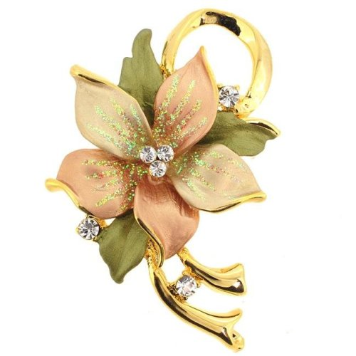 c51d0e55ad9b Fantasyard Topaz Poinsettia Swarovski Crystal Flower Brooch Pin   Pendant -  Silver - 1.625 x 2 in. on OnBuy