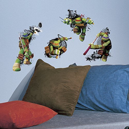 RoomMates RMK2769TB Teenage Mutant Ninja Turtles in Action Peel and Stick Giant Wall Decals 18 x 40