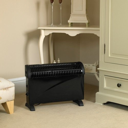 750/1250/2000W Black Electric Convection Heater Free-standing or Wall Mountable UK Plug
