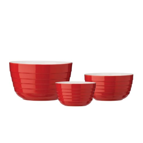 Mixing Bowls, Red, Set Of 3