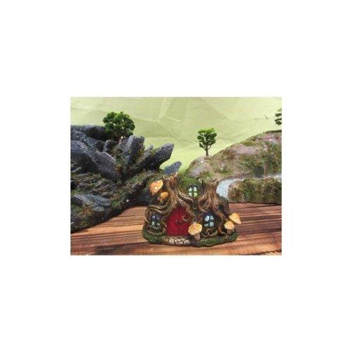 Fairy Garden Outdoor Decor - Tree Root House With Red Door And Mushrooms