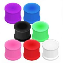 Urban Male Pack of Seven Flexible Silicone Ear Stretching Saddle Plugs Flared 8mm