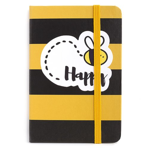 """Hardback Lined Pocket Notebook - Bee Happy - Size Approx 5"""" x 3.5"""""""