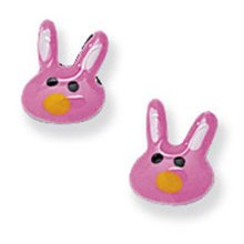 Childrens Sterling Silver Pink Bunny Rabbit Stud Earrings