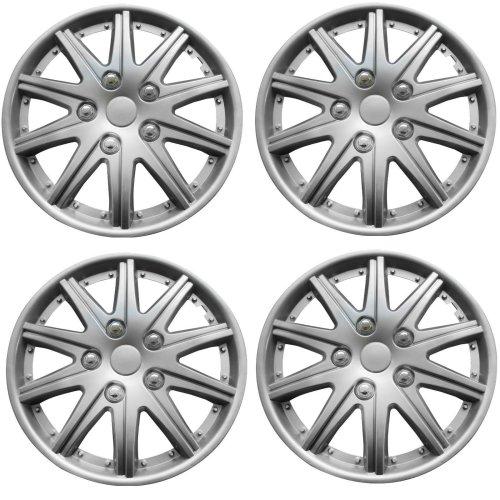 "Brookstone Valencia Car Wheel Trim Set 13"" Silver Set Of 4 Hub Caps Covers"