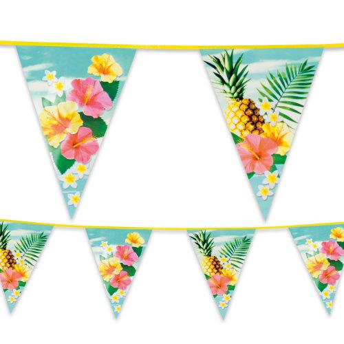 Tropical Hawaiian Plastic Bunting 6m Long BBQ Summer Garden Party Decoration