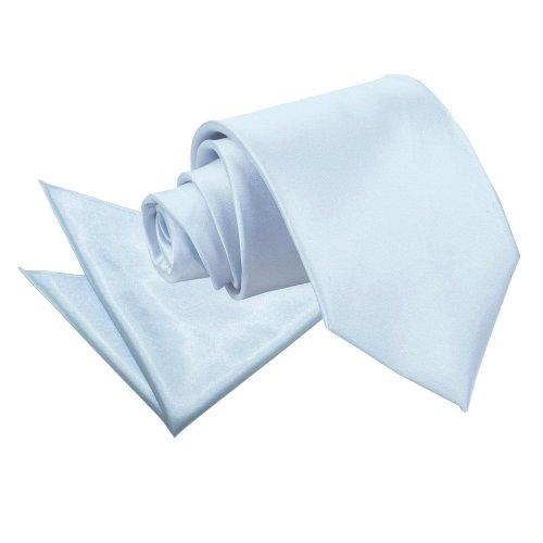 Baby Blue Plain Satin Tie & Pocket Square Set