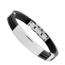 Mens Black Braided Stainless Steel Magnetic Clasp Bracelet